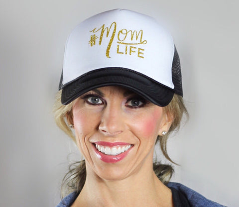 #MOMLIFE Glitter Gold Hat (Black & White) Trucker Style