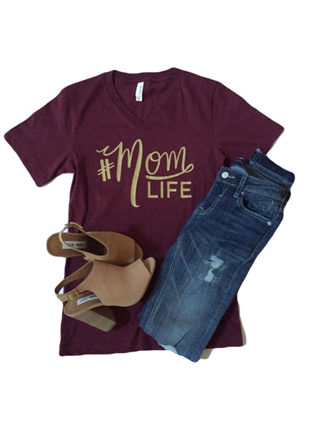 The Original #MOMLIFE V-Neck Tee in Wine with Gold
