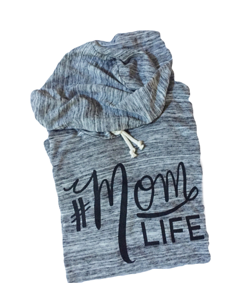 #MOMLIFE Soft Eco-Jersey Hoodie Marble with Black- PREORDER