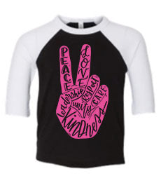 Peace & Kindness Raglan (Black with White Sleeves) (Sizes 2t-2x) YOU CHOOSE THE INK