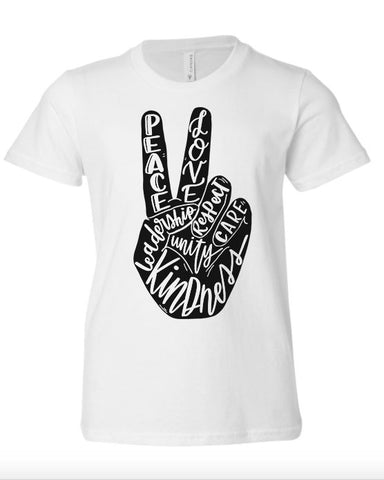 Peace & Kindness Crew Neck Tee White (Sizes 2t-2x) YOU CHOOSE THE INK COLOR