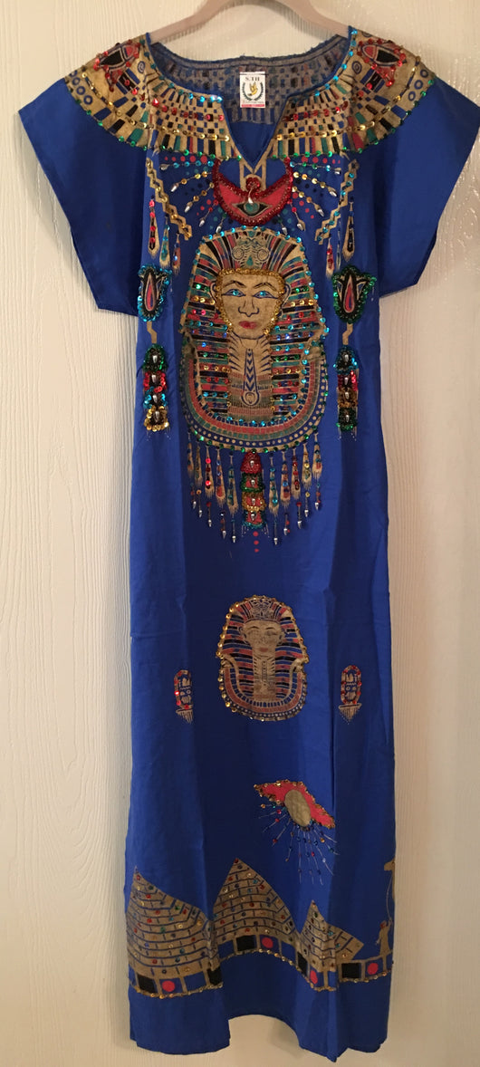 Egyptian Cotton Galabeya with King Tut or Queen Nefertiti Design with Heavy Sequined Detail