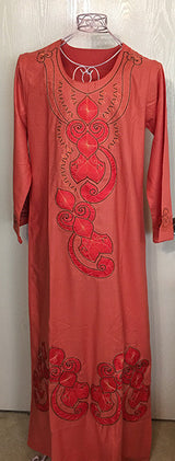 Egyptian Cotton Galabeya Scoop Neckline  with Soutache and Satin Motif