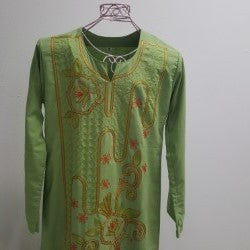 Egyptian Galabeya - Avocado Green with Orange and Green Embroidery