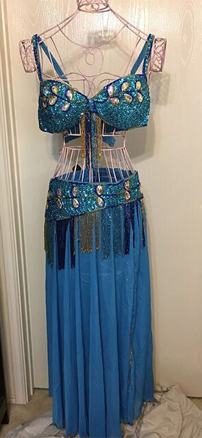 Belly Dancer 3 pc Outfit with Large Crystals ~ Blue Mermaid Color