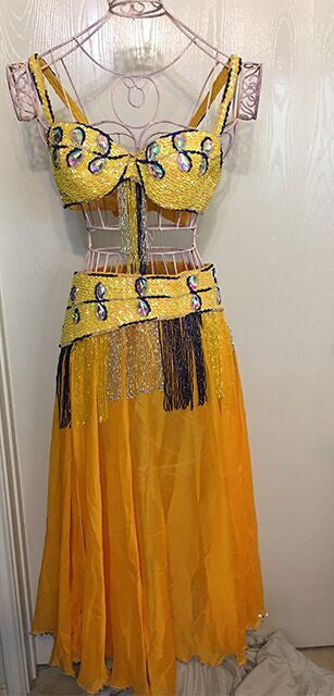 Belly Dancer 3 pc Outfit with Large Crystals - Sun Worship Yellow