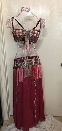 Belly Dancer 3 pc Outfit with Large Crystals - Cranberry Dream