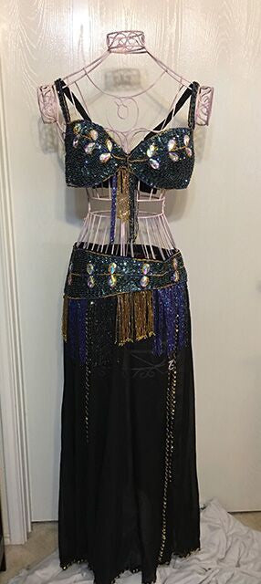 Belly Dancer 3 pc Outfit with Large Crystals - Black with Blue Accents