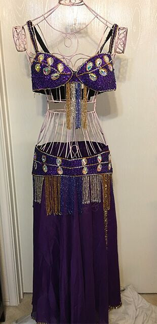 Belly Dancer 3 pc Outfit with Large Crystals - Purple Gem
