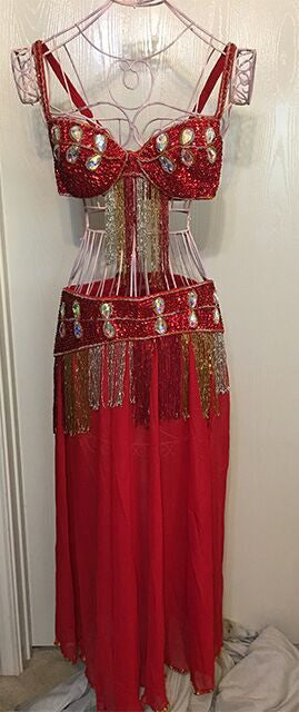 Belly Dancer 3 pc Outfit with Large Crystals - Lipstick Cherry Red Romantic Bliss