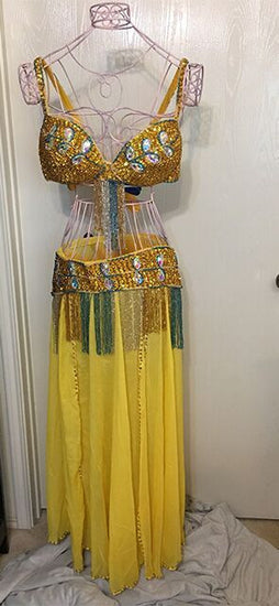 Belly Dancer 3 pc Outfit with Large Crystals - Gold/Silver/Green Accents
