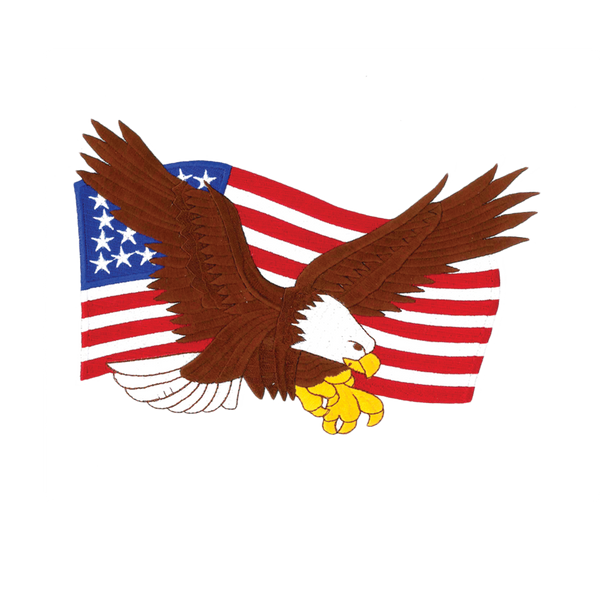 "1233 Eagle American Flag Patch 9""W"
