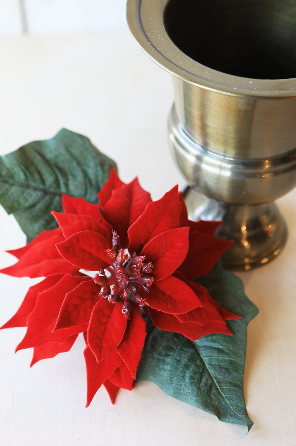 "24"" Red Velvet Poinsettia Stem"