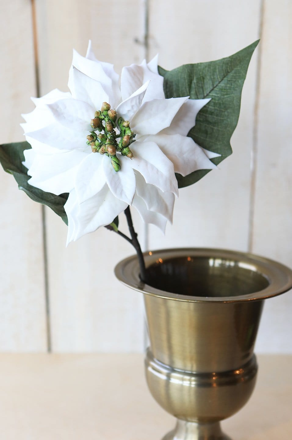 "24"" White Velvet Poinsettia Stem"