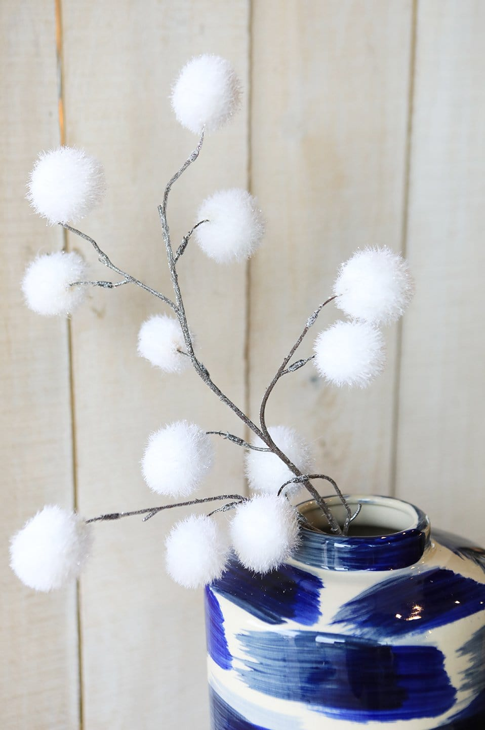 "30"" Glitter White Pom-Pom Spray"