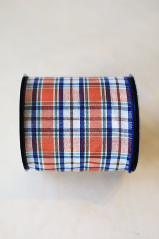 "4"" x 10yds Navy/Orange Plaid Ribbon"