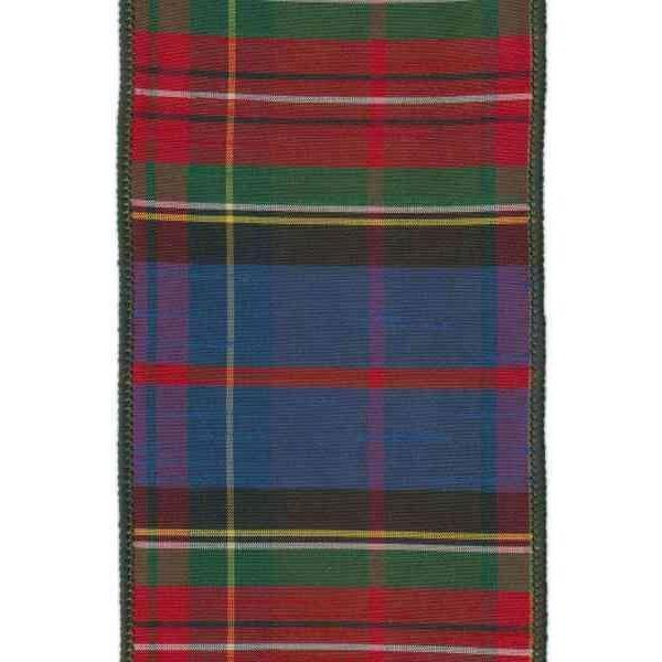 "4"" Faux Dupioni Silk Plaid, Green Red Blue Black Yellow, Wired"