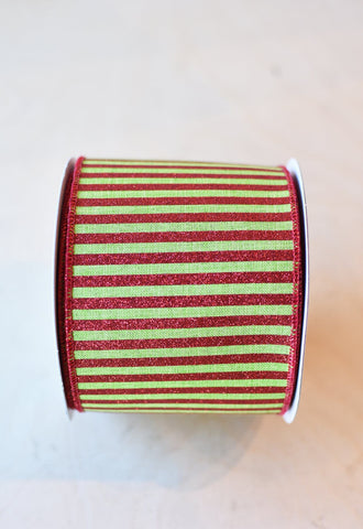 Green and Red Striped Ribbon
