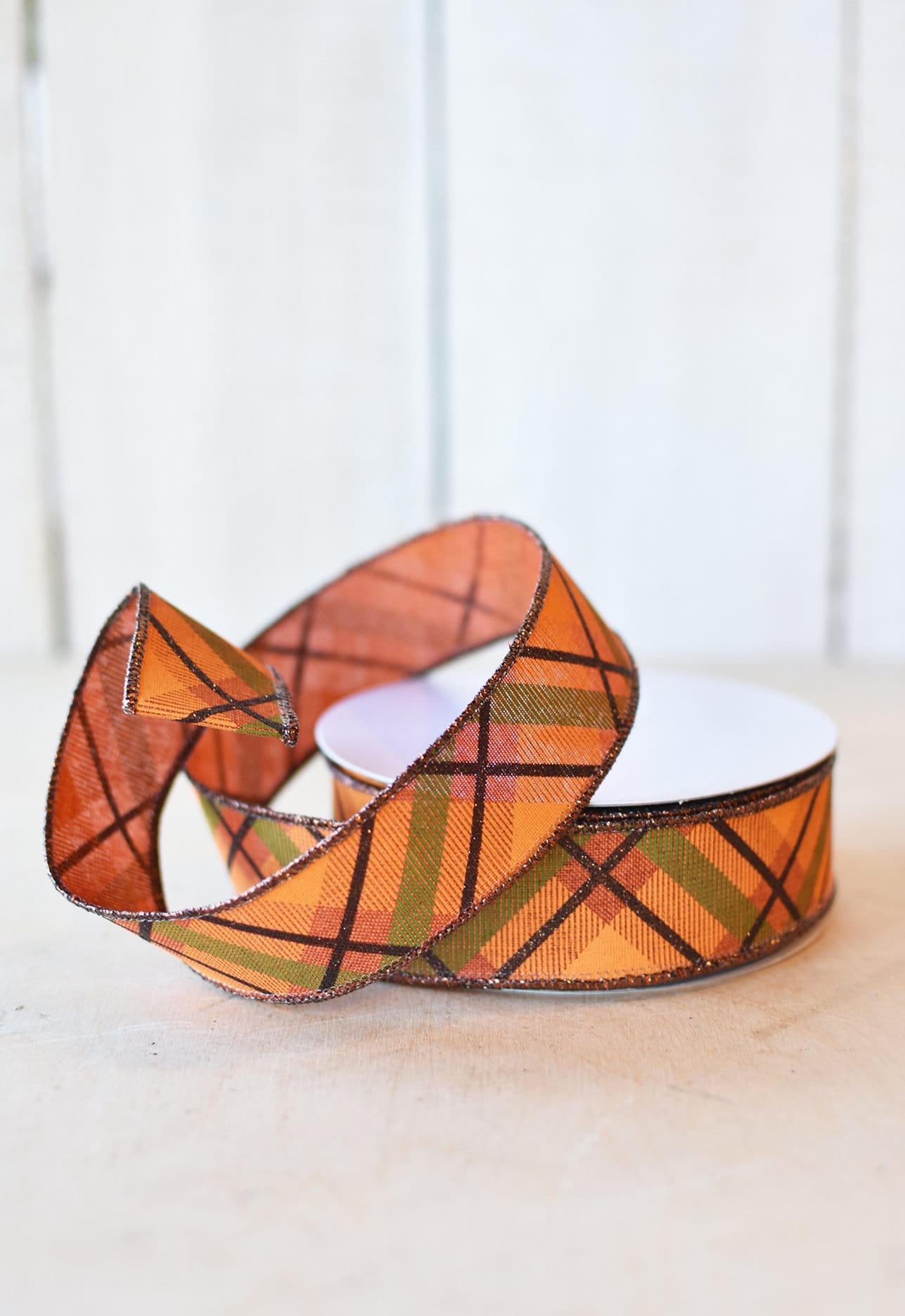 Orange and Green Plaid Ribbon