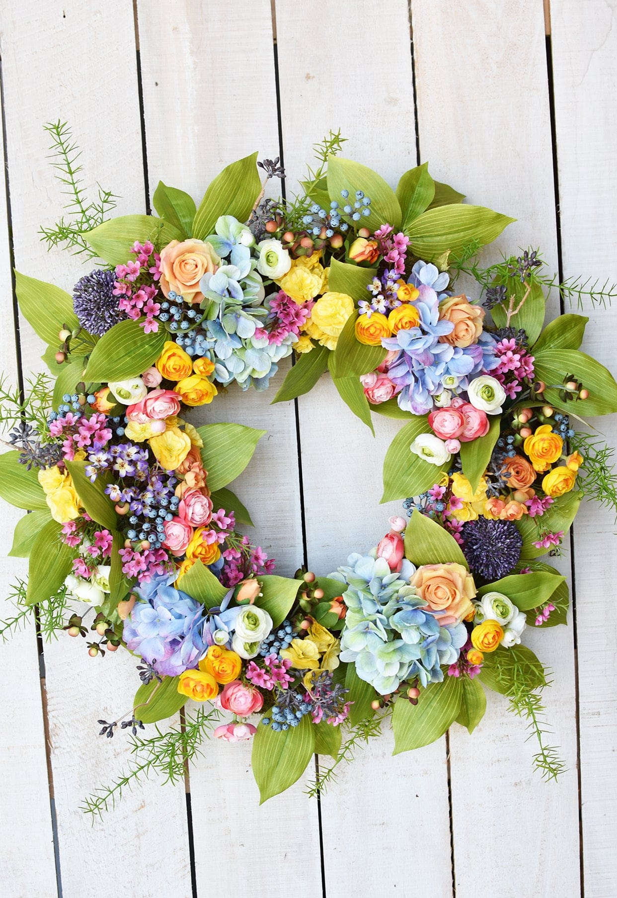 "13"" Faux Ranunculus Spray Yellow Gold"