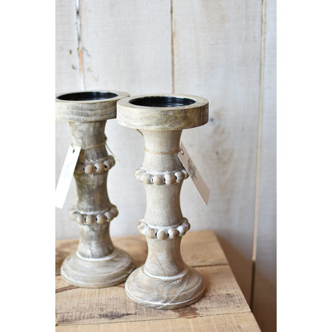 Wood Beaded Candlestick (2 Sizes)