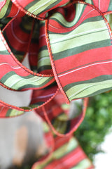 "2.5""x10yd Red, Green, Black, and White Stripe Faux Dupioni Ribbon"