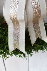 "2.5""x10yd Pale Gold Glitter Stripe on Linen Ribbon"