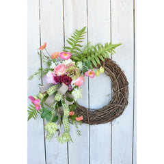 Summer Wreath with Poppies and Roses