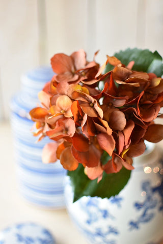 Faux Silk Hydrangea Stem Fall Orange