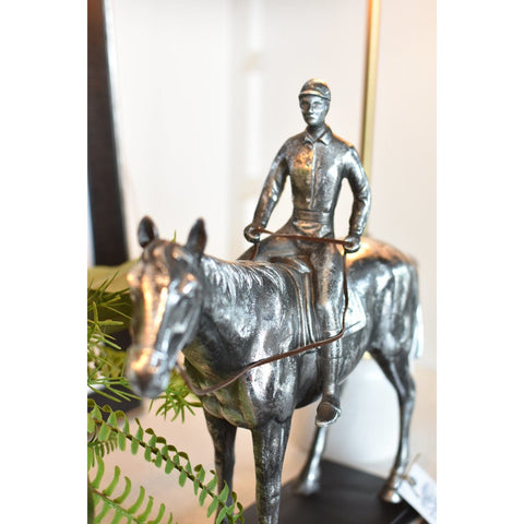 Antique Silver Finish Horse/Jockey