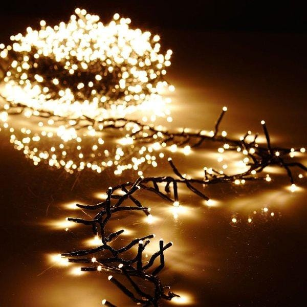 BATTERY POWERED LED Warm White Cluster Light Garland, w/Timer and Remote