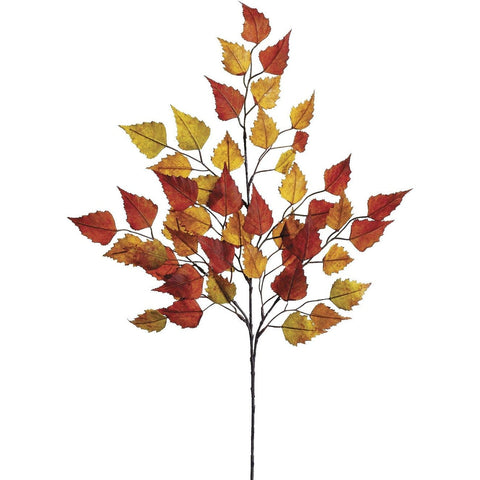 "26"" Faux Birch Leaf Spray Red/Orange/Yellow"