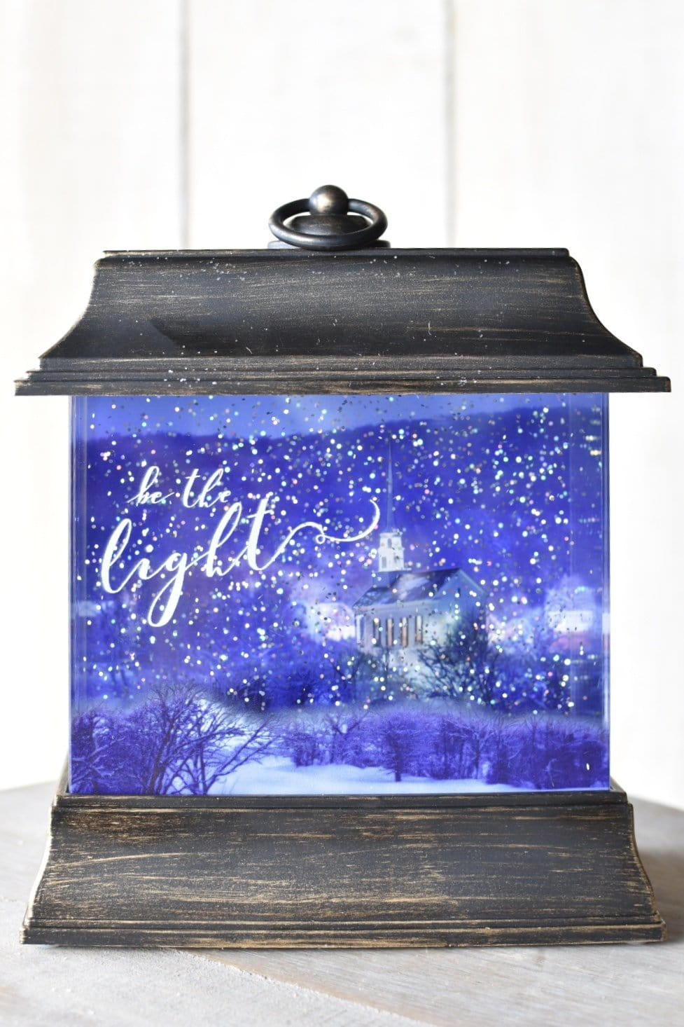 "8.5"" LED Swirl Lantern with Church ""Be the Light"" Glitterdome"