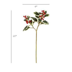 "18"" Variegated Faux Holly Stem"