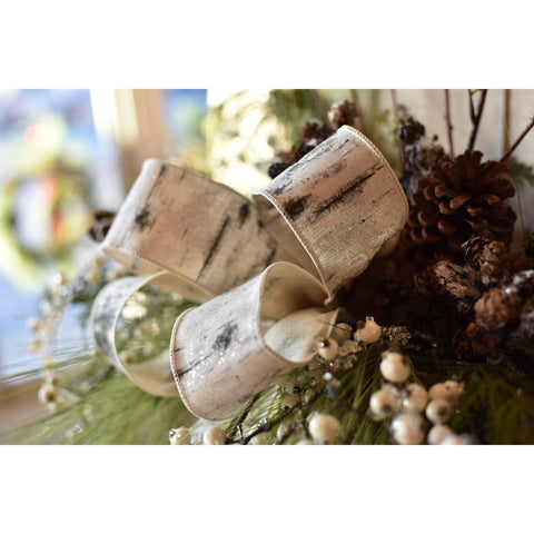 "2.5"" Wide X 10 yards Faux Birch Ribbon with Mica Glitter"