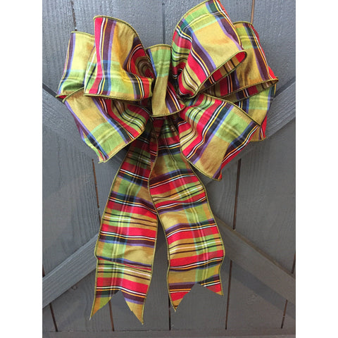 Happy Plaid Hand Tied Bow