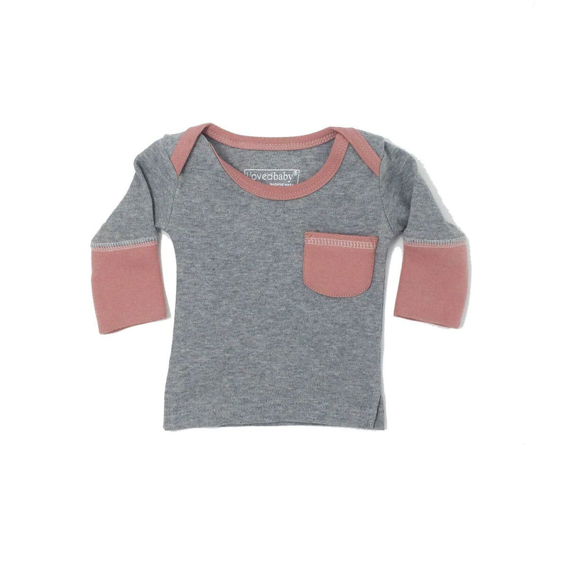 Organic Long Sleeve Shirt- Mauve/Gray
