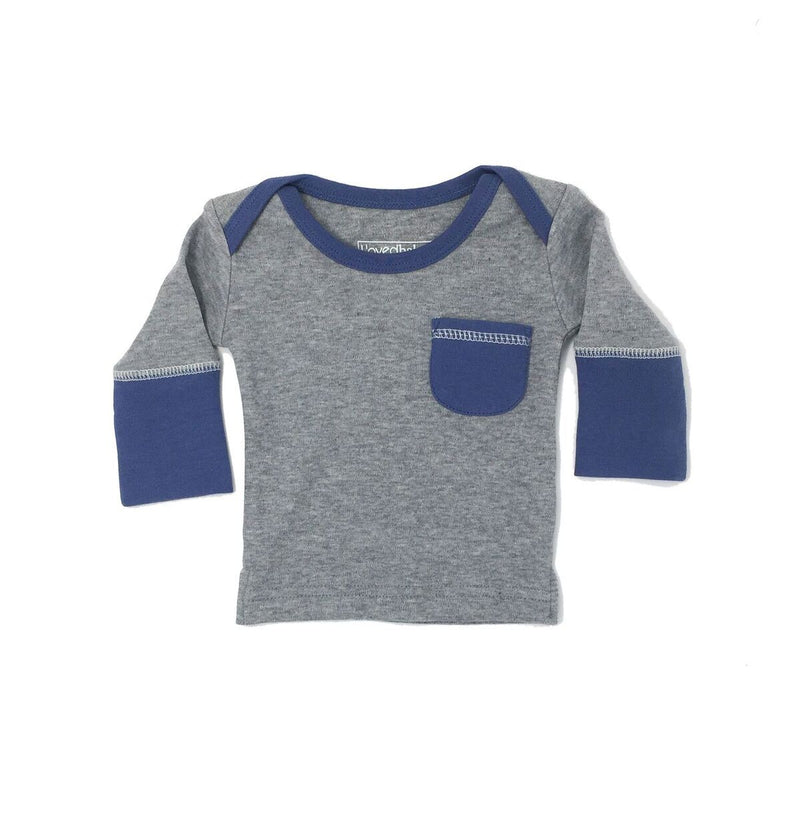 Organic Long Sleeve Shirt- Slate/Gray (6-9 Months)