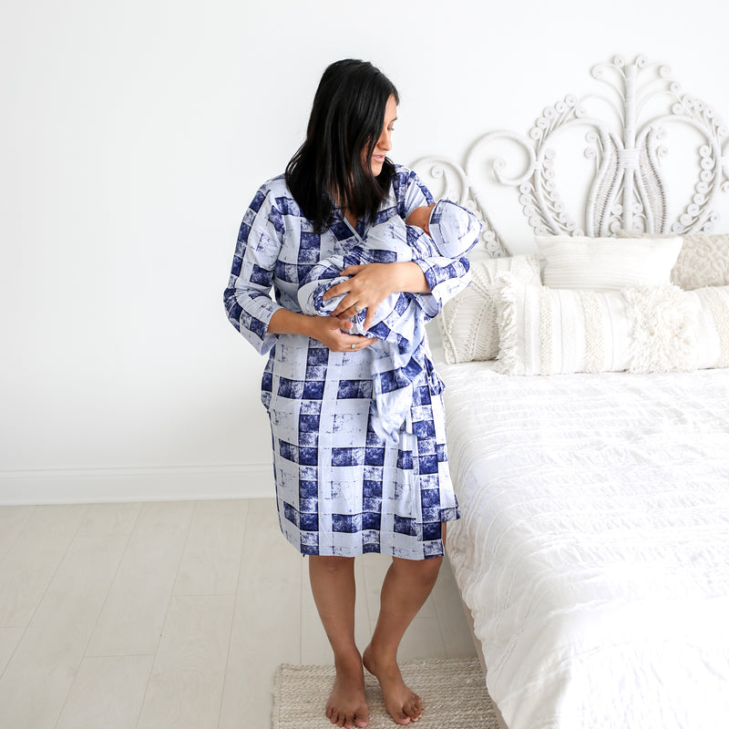 Mommy Robe in Denim Plaid