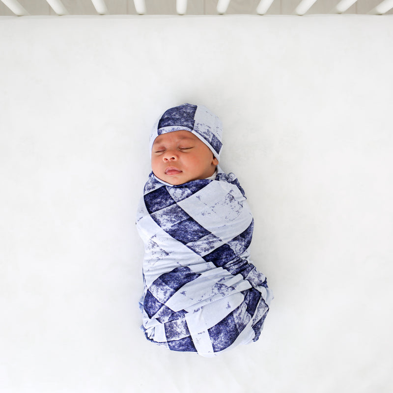 Infant Swaddle and Hat Set in Blue Denim