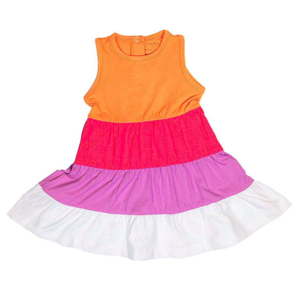 4 Tier Dress- Orange/Coral/Orchid