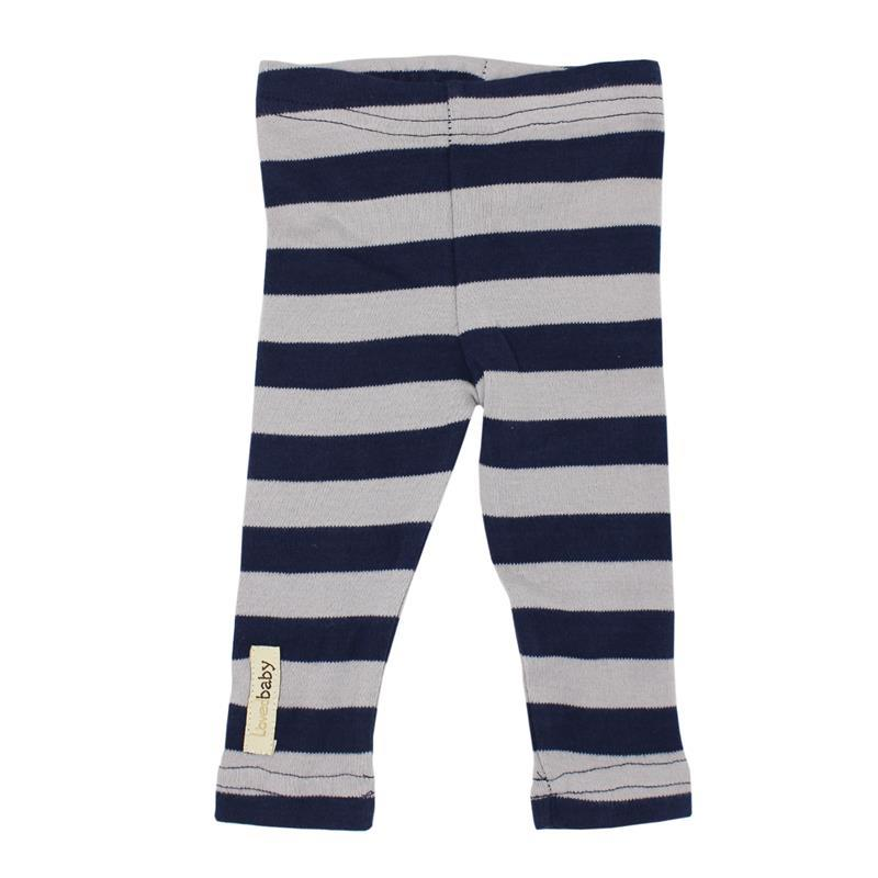 Organic Cotton Leggings- Navy/Light Gray Stripe (9-12 Months)