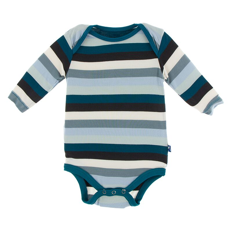 Print Long Sleeve One Piece in Meteorology Stripe