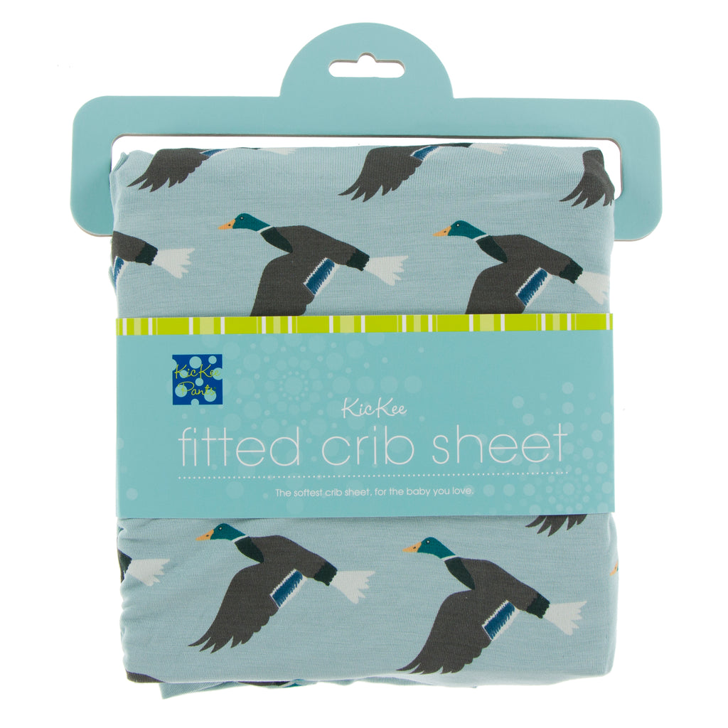 Print Fitted Crib Sheet in Jade Mallard Duck