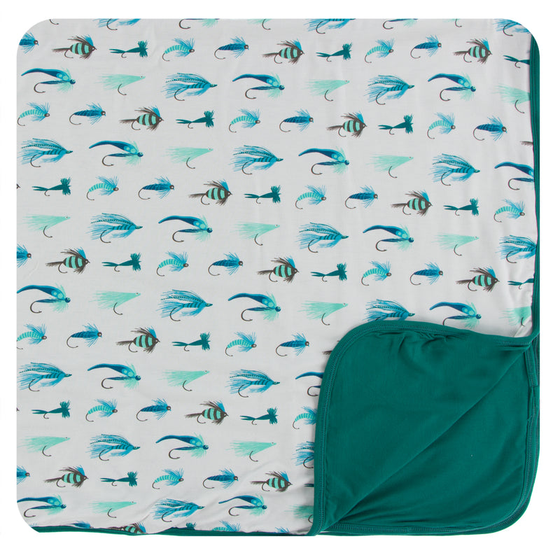 Print Toddler Blanket in Natural Fishing Flies