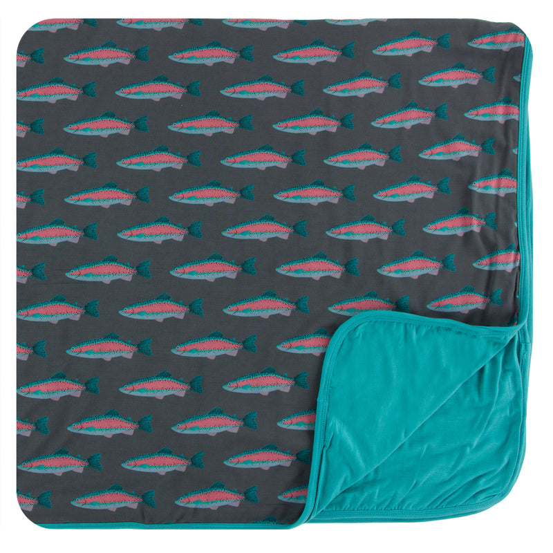Print Toddler Blanket in Stone Rainbow Trout