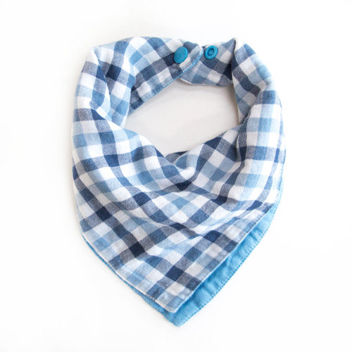"Twigs & Co. ""Blue Gingham"" Bandana Bib"