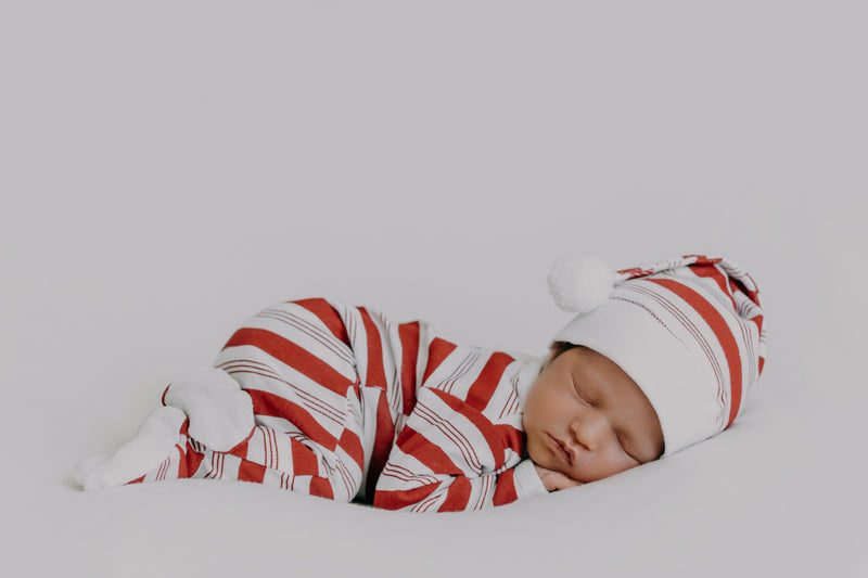Holiday Organic Overall & Cap Set in Peppermint Stripe