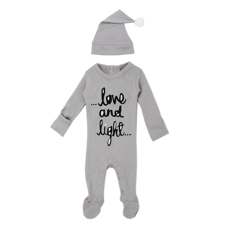 Organic Overall & Cap Set in Gray Love & Light