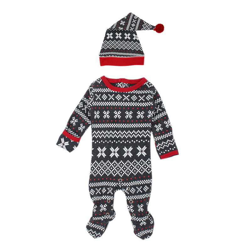 Holiday Organic Overall & Cap Set in XOXO Fair Isle